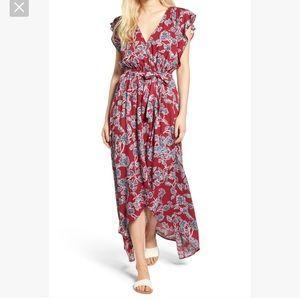 Splendid Red Etched Floral Wrap Dress